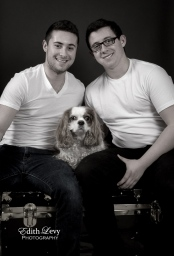 portraits, monochrome, family, brothers. Cavalier King Charles Spaniel, CKCS