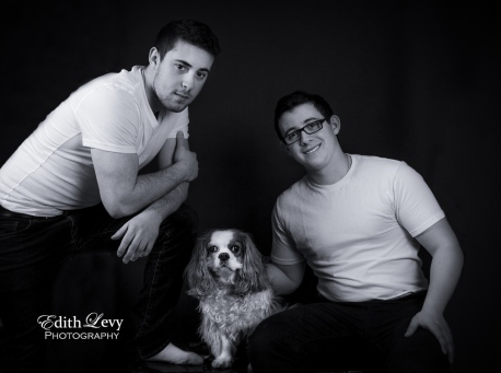 portraits, black and white, studio, family, brothers, Cavalier King Charles Spaniel, CKCS